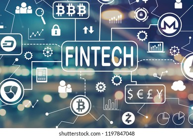 Cryptocurrency fintech theme with blurred city abstract lights background