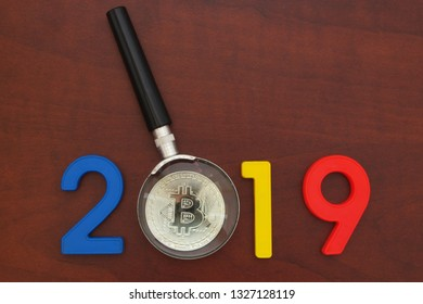 Cryptocurrency Cost Future Year 2019 Magnifying Stock Photo (Edit
