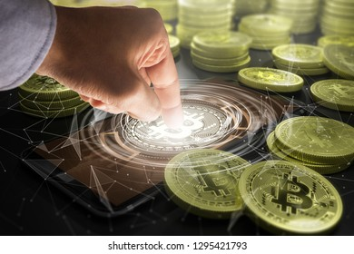 Cryptocurrency and future technology concept - close up of hands with bitcoin symbol hologram on smartphone screen