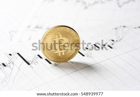 cryptocurrency. golden bitcoin coin on a stock market charts