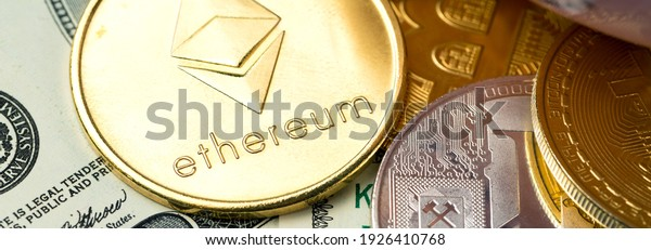 cryptocurrency golden coins - Bitcoin, Ethereum with dollar background. Virtual money concept.
