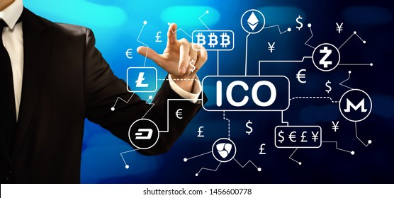 Cryptocurrency ICO theme with businessman on a dark blue background
