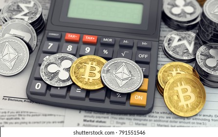 Cryptocurrency income tax calculation concept. Three popular cryptocurrencies laying on the calculator keyboard. 3D rendering