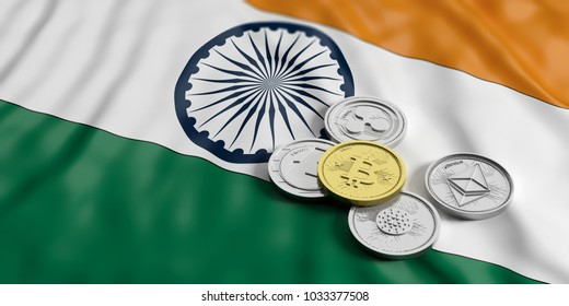 Cryptocurrency in India concept. Golden bitcoin and variety of silver virtual coins on India flag background. 3d illustration