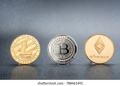Cryptocurrency Lite coin,Silver Bitcoin,Ethereum on black background,Digital cryto currencies.Virtual money