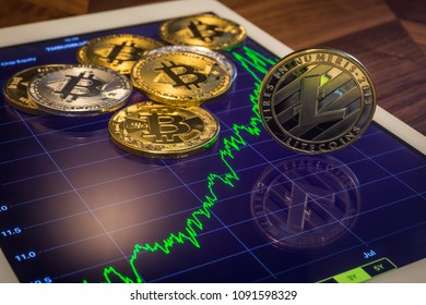 Cryptocurrency metal, focus on Litecoins on tablet screen that showing green price or stock market performance graph. Concept of decentralized, transfer or exchange digital money through blockchain.