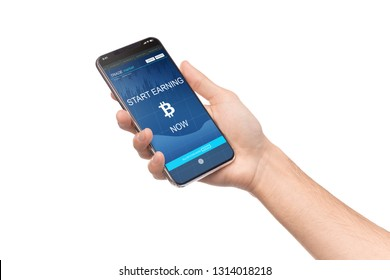 Cryptocurrency mining. Cellphone with Bitcoin earning application in male hand, isolated on white