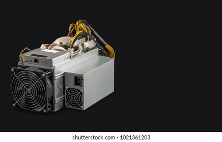 Cryptocurrency mining farm for bitcoin and altcoins mining isolated on black background