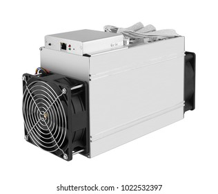 Cryptocurrency mining farm for bitcoin and altcoins mining. Isolated on white background