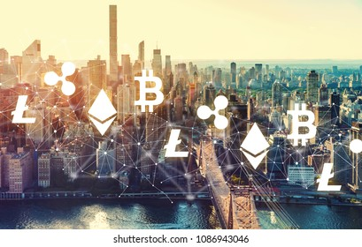 Cryptocurrency with the New York City skyline near Midtown