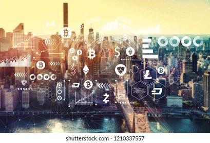 Cryptocurrency with the New York City skyline near midtown