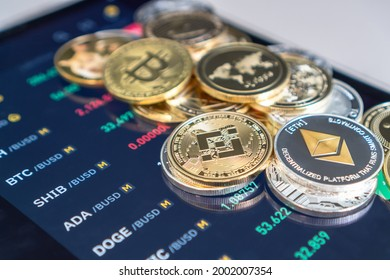 Cryptocurrency on Binance trading app, Bitcoin BTC with BNB, Ethereum, Dogecoin, Cardano, Litecoin, altcoin digital coin crypto currency defi p2p decentralized finance and fintech banking market