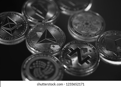 Cryptocurrency physical silver altcoins' close up in black and white