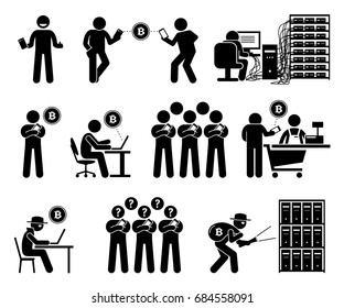 Cryptocurrency. Pictogram artwork depicts people using digital currency to buy and transfer  money. Illustrations also show how a person mining and stealing cryptocurrency with computers and servers.