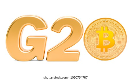 Cryptocurrency regulation concept at G20 summit, 3D rendering
