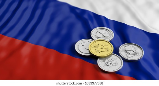 Cryptocurrency in Russia concept. Golden bitcoin and variety of silver virtual coins on Russia flag background. 3d illustration