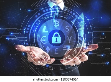 Cryptocurrency Security Theme with businessman on a black background