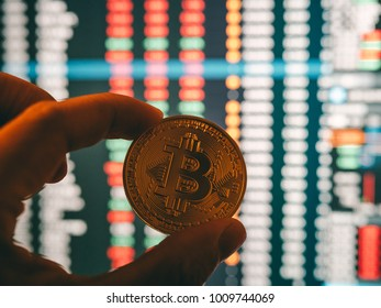cryptocurrency and stock market business concept