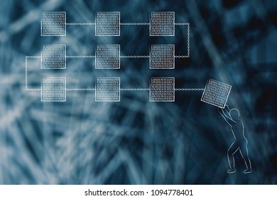 cryptocurrency technology and functioning conceptual illustration: man completing a group of block chains