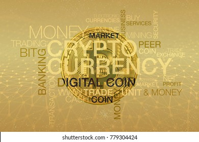 Crypto-currency word cloud with a bitcoin coin and golden net as a background