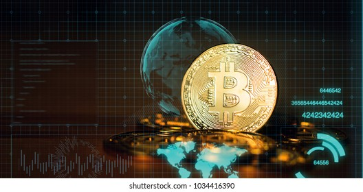 cryptocurrency,Bitcoin Gold (BTG) on dark background with copy space - as the result of latest Bitcoin's ,with digital HUD graphic