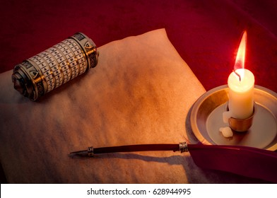 Cryptographic encoding and sending secretes concept with a secret chamber box or cryptex, blank old paper with room for text, quill and a candle illuminating the scene in candlelight, with copy space