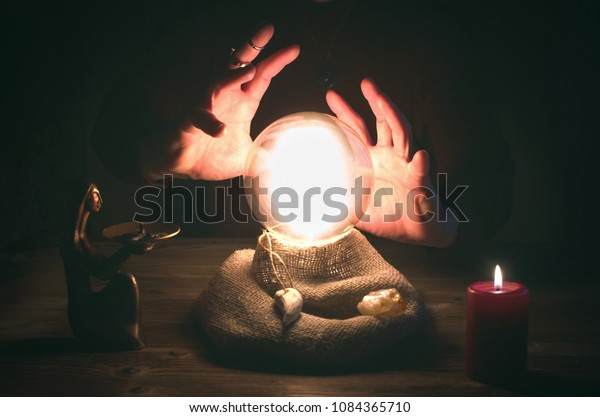 Crystal Ball Fortune Teller Hands Divination Stock Photo