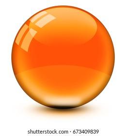 Crystal ball, glass ball, glossy, orange