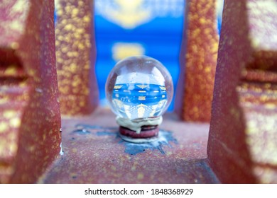 crystal ball or glass ball in the temple
