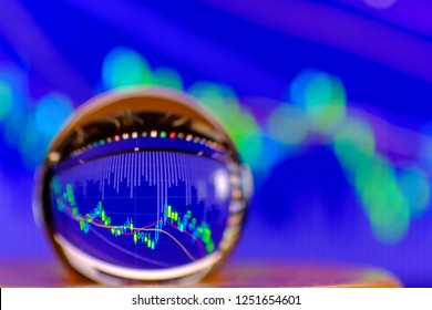 Crystal ball on the background of Stock Market Chart exchange trading