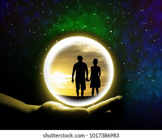 Crystal ball on the hand of fortune teller woman,background of astrology and love concept.