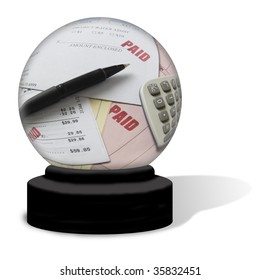 A crystal ball on a white background. The globe contains various bills with PAID stamped on them