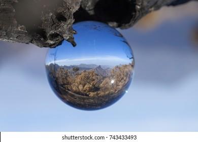 crystal ball photography - Caldera de Tejeda, Gran Canaria, after wildfire September 2017