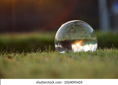 Crystal ballon on green grass near sunset,enviroment saving, abstract meaning environment in your hand.