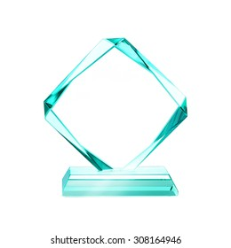 crystal blank for award isolated on a white background with a clipping path
