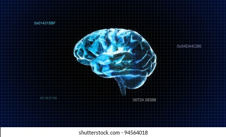 the crystal brain and time code render for medical and biology concept