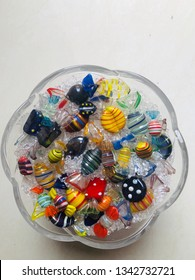 Crystal candy interior decoration on glass bowl top view