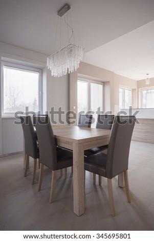 Crystal Chandelier In Elegant Luxury Dining Room