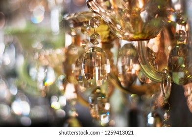 Crystal chandelier with glitter closeup background image