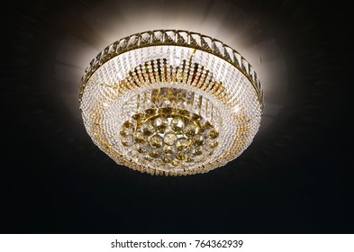 Crystal chandelier hanging on the ceiling
