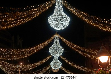 Crystal chandeliers at street Christmas decoration