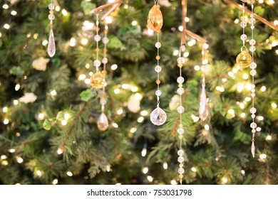 crystal christmas decorations hanging from a green tree - Crystal Christmas Decorations