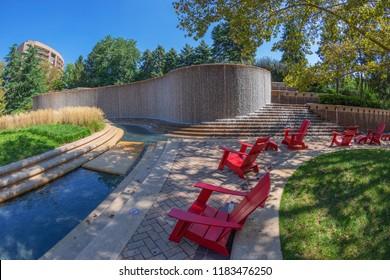 Crystal City, Arlington, USA - September 6, 2018: Water Park and modern fountain in Crystal City, Virginia.