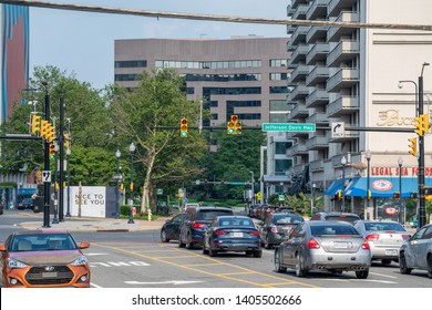 Crystal City, Virginia, USA - May 18, 2019: Buildings and vehicles on heavily trafficked Jefferson Davis Highway in Crystal City, location of Amazon HQ2 in Arlington County.
