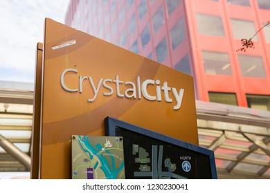 CRYSTAL CITY, VIRGINIA, USA - NOVEMBER 14, 2018: Information sign in Crystal City, location of Amazon HQ2 in Arlington County.