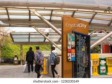 CRYSTAL CITY, VIRGINIA, USA - NOVEMBER 14, 2018: Crystal City sign at Metro station, location of Amazon HQ2 in Arlington County.