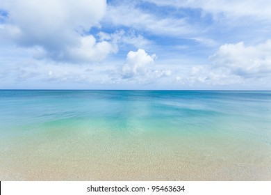 Crystal clear blue coral water of a tropical island beach, Okinawa