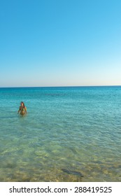 Crystal clear blue water in south Crete, Greece