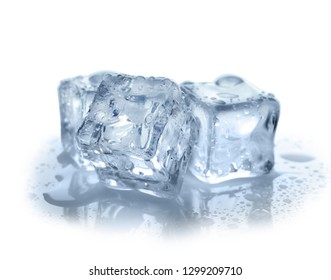 Crystal clear ice cubes on white background