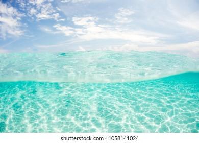 Crystal clear tropical ocean water landscape